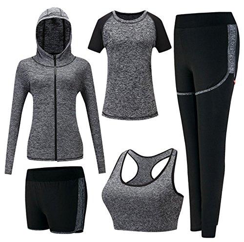 Damen Sportsuit Set, Lauf Jogging Trainingsanzug Gym Fitness Outfit Trainings Sweatsuit 5 Stück Set