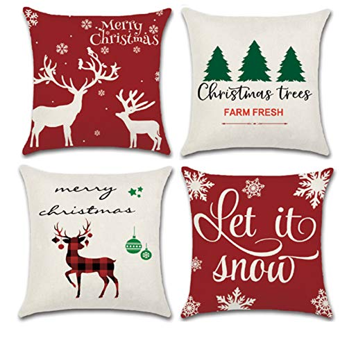 YHmall 4 Pack Christmas Pillow Covers 18 x 18, Snowflake Decorative Christmas Throw Pillow Covers, Farmhouse Christmas Pillow Covers (red)