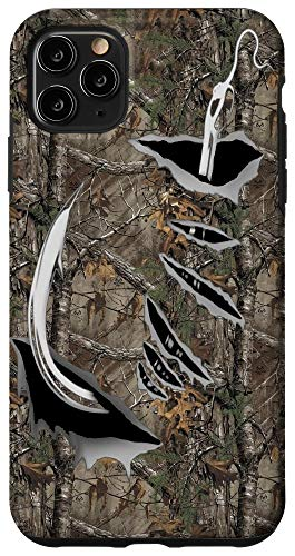 iPhone 11 Pro Max Fish Hook Realtree Camouflage Fabric Case Funny Fishing Case