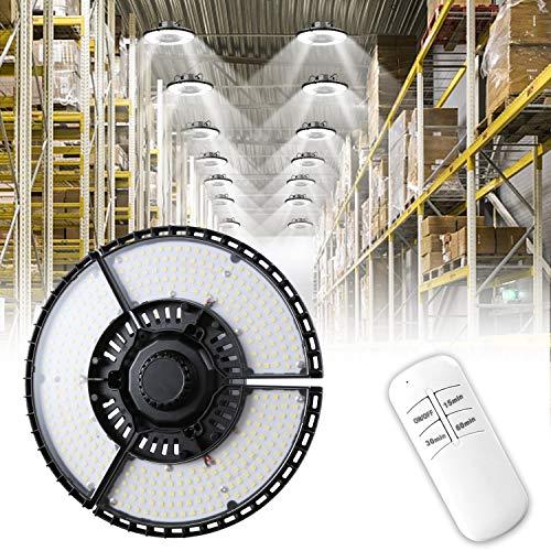 Lámpara Garaje LED, Focos led Interior con 315 LEDS 80W 12000LM Luces de Garaje Industrial Iluminación con 3 Paneles Ajustables 90°, Lámpara Alta Bahía E26/E27 para Garaje, Taller, Fábrica,Almacén