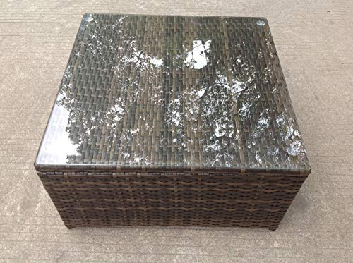 Fimous Rattan Square Coffee Table Outdoor Garden Furniture Patio Furniture Mixed Brown