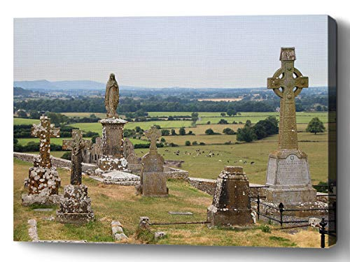 YUNLOY Canvas Art Wall Print Framed for Room Home Walls Decor Morden Decoration 20x14 Ireland Cemetery Rock of Cashel Cross Tombstone Mourning Funeral Celtic