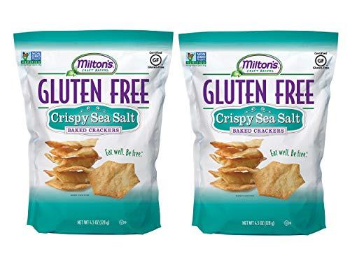 Milton's Gluten Free Crackers (Crispy Sea Salt). Crispy and Gluten-Free Grain Baked Crackers (Pack of 2, 4.5 Ounces).