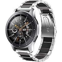 SUNDAREE Compatible con Correa Galaxy Watch 46MM,22MM Metal Acero Inoxidable Reemplazo Correa Banda Pulsera de Repuesto Correa para Samsung Galaxy Watch 46MM/Gear S3 Classic/Frontier(Plata+Negro)