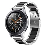 SUNDAREE Compatible con Correa Galaxy Watch 46MM,22MM Metal Acero Inoxidable Reemplazo Correa Banda Pulsera de Repuesto Correa para Samsung Galaxy Watch 46MM/Gear S3 Classic/Frontier(Plata+Negro)