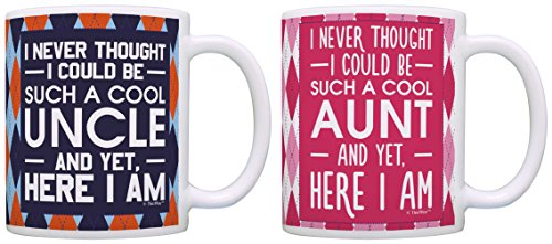 Uncle and Aunt Gifts Never Thought Could be Cool Gift Bundle 2 Pack Gift Coffee Mugs Tea Cups Argyle