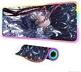 BOIPEEI Alfombrillas De Ratón Anime Game Girl RGB XXL Multi-Tama?o LED Lock Computadora Portátil Juegos para Juegos Accesorios Alfombrilla De Escritorio (30x80cm)