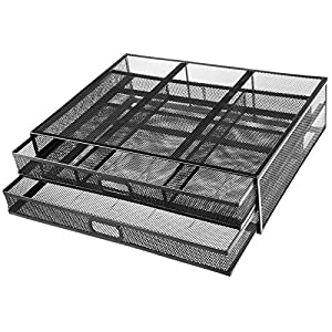 HUANUO Monitor Stand with 2 Storage Drawers – Metal Mesh Desk Organisers, Support Laptop, Notebook, PC, Monitor, Printer, Scanner up to 15 KG