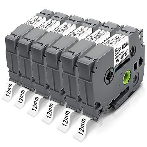 Pristar 12mm Compatibile Nastri per Brother TZe-231 TZe231 TZ-231 Nero su Bianco per Brother D210 H110 H200 E100VP H107B H101GB D600VP E550WVP D600VP 1000