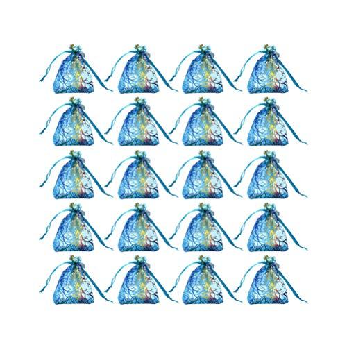 TENDYCOCO 20 Stück Organza Geschenktüten Schmuckbeutel Kordelzugbeutel Bunte Bronzing Favor Geschenkbeutel für Hochzeitsfeier Festival (Blau 20X30cm)