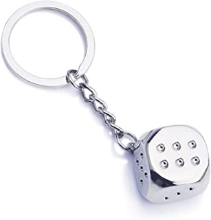 Axmerdal Cute Creative Car Keychain Mini Metal Dice Pendant Key Chain Ring KeyRing Keyfob Perfect Souvenir Gift Choice