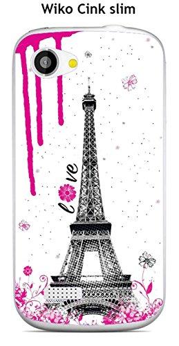 Onozo - Carcasa para Wiko Cink Slim, diseño con texto en inglés 'Love Paris Sweet