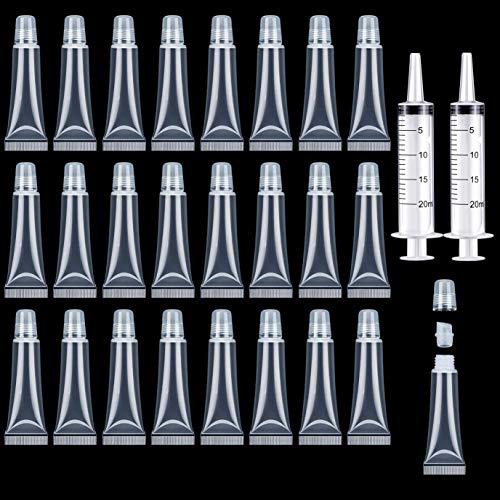 24 Stück 8ml Mini Lipgloss Behälter Leer Lipgloss Tube DIY Lipgloss Flaschen Lipgloss Tuben mit 2...