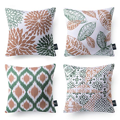 Phantoscope Set of 4 New Living Series Decorative Throw Pillow Case Cushion Cover Caramel and Green 18 x 18 inches 45 x 45 cm