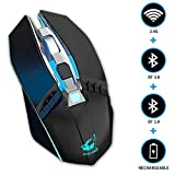 KILISON Wireless Mouse Bluetooth Ricaricabile + Mouse Gaming + Ricevitore Bluetooth 5.0/3.0 + 2.4 G Wireless + 3 Livelli DPI Regolabile per PC/Tablet/Laptop e Windows/Mac/Linux/Android, Nero