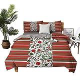 Juego de sábanas de algodón de Dragon Vines, 4 unidades, diseño de Papá Noel, color rojo y blanco