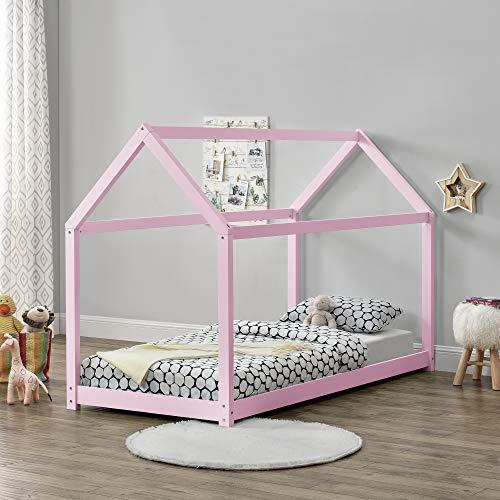 Cama montessori rosa para colchón de 90 x 200 cm