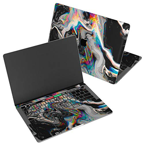 Wonder Wild Skin Compatible with MacBook Decal Vinyl Air 11 inch Apple Mac 13 Retina 12 Pro 15 2019 2018 2017 16' Protective Sticker Laptop Glitch Art Abstract Black Holographic Paint Rainbow Flow