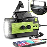 [2021 Newest] Emergency-Hand-Crank-Radio,4000mAh Portable Weather Solar Radios with Motion Sensor Reading Lamp,3 Gear LED Flashlight,SOS Alarm,Cell Phone Charger,AM/FM/NOAA (Green)