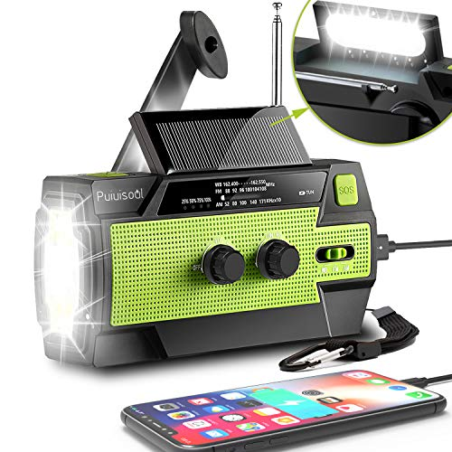 [2021 Newest] Emergency-Hand-Crank-Radio,4000mAh Portable Weather Solar Radios with Motion Sensor Reading Lamp,3 Gear LED Flashlight,SOS Alarm,Cell Phone Charger,AM/FM/NOAA(Black)