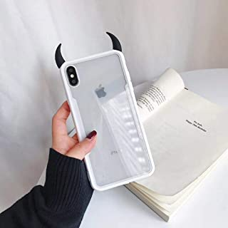 Ninetee Luxury Cute 3D Devil Horn Transparent Acrylic Soft Phone Case for iPhone 7 8 7 Plus 8 Plus X XS MAX XS XR Ultra-Thin Cover Case (C, for iPhone Xs Max)