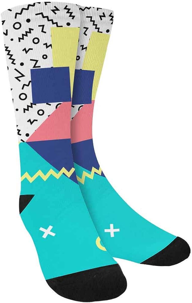 INTERESTPRINT Geometric Pattern in Retro Style Outdoor Casual Novelty Custom Socks