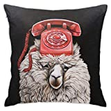 Obo Llama Red Phone Question Throw Pillow Cover Decorative Pillow Case Home Decor Square 18x18 Inches Pillowcase