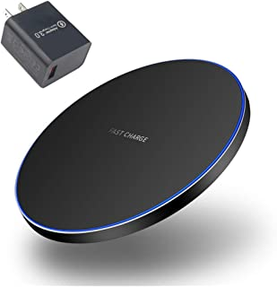 10W Fast Charger, Wireless Charging Pad for iPhone 11/11 Pro/11 Pro Max/XR/XS/8 Plus, Galaxy Note10/Note10 Plus/S10/S10 Plus/Note9 (with 18W QC3.0 Adapter)