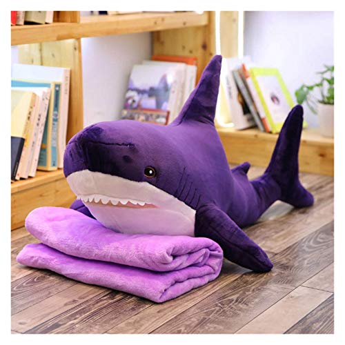Juguetes de Peluche Gigante Rusia Tiburón de Ike A Relleno Pink Tiburón Almohada Peluche Juguetes Gran Sofá Cojín para Niña Regalo (Color : Purple, Height : 80cm)