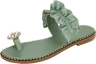 BIBOKAOKE Casual dames zomer teenslippers sandalen badslippers sierparels macramé elegante platte schoenen douche slippers...
