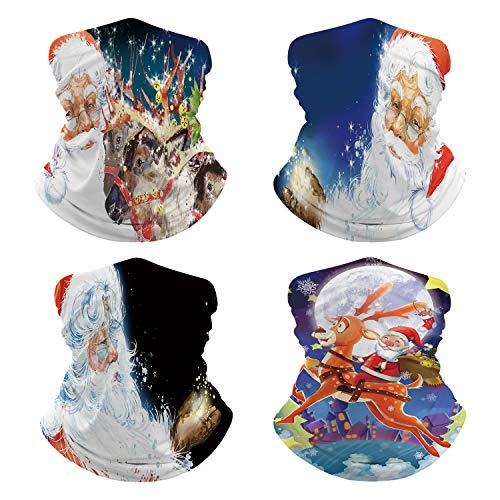 Pack of 4 Adult Watercolor Santa Claus and Reindeer Neck Gaiter Face Mask Scarf