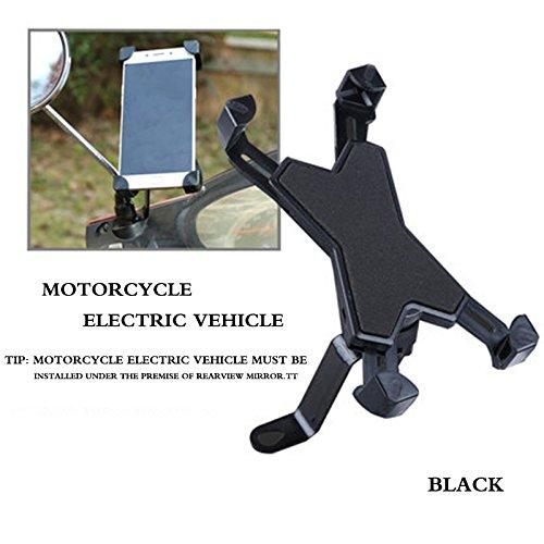 Emsems BlueFire Motorfiets Telefoon Mount, Driehoek Stabiliteit Anti-slip voor telefoons met 3,5-6,5 inch Scherm voor Motorfiets/Fiets/Scooter, Motorbike (black), Zwart
