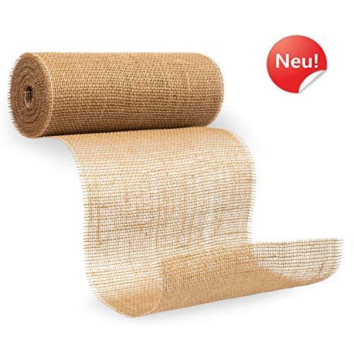 benycs Jute Tischläufer - Premium Tischband für Tischdeko & Hochzeit - 100% Natur Leinen-Jutestoff mit Doppelter Seitennaht - 30cm breit & 10m Rolle
