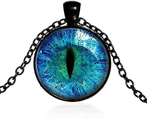 Collar de ojos Glow I The Dark Fluorescent Animal Eye Collar con colgante de piedras preciosas redondas Regalos de Hallowee