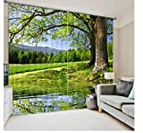 SHANGZHIQIN Fashion Customized 3D Curtain,Big Tree Tranquil Lake