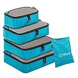 ZOMAKE Packwürfel,packtaschen im 4-teiligen,ltra-leichte Koffer Organizer Set Ideal für Seesäcke, Handgepäck und Rucksäcke (Blau)