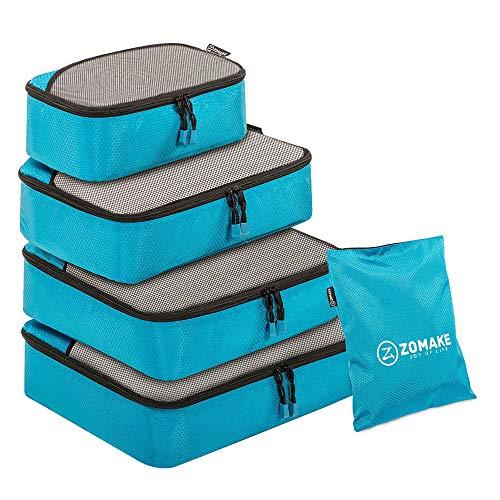 ZOMAKE Organizador para Maleta,5 Piezas Bolsa de Almacenamiento Maleta Caja de Almacenamiento de Viaje(Azul Claro)