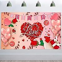 lovedomi 9x6ft ロマンチックなバレンタインデー赤いバラの花びらハートの形私はあなたを愛していますピンクの風船の写真の背景写真スタジオブース家族の休日の誕生日パーティー写真スタジオの小道具ビニール素材