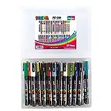 Posca PC-3M - Juego completo de rotuladores de pintura acrílica de 37 colores, punta fina de 0,9 a 1,3 mm, fantástico juego de arte, 37 bolígrafos, exclusivo de easichalk.