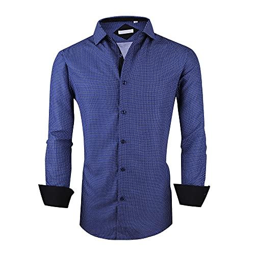 Menswear House Mens Dress Shirts Long Sleeve Regular Fit Printed Shirt Button Down (Long-blue02, M)
