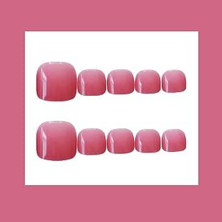 MISUD 24Pcs Jelly Pink Fake Toe Nails Short Press-on Full Covered False Nails Foot Acrylic Nails Art Tips Sets