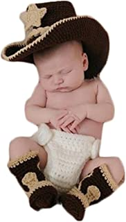 Newborn Baby Photography Props Boy Girl Photo Shoot Outfits Crochet Knitted Clothes Cowboy Hat Rompers Set