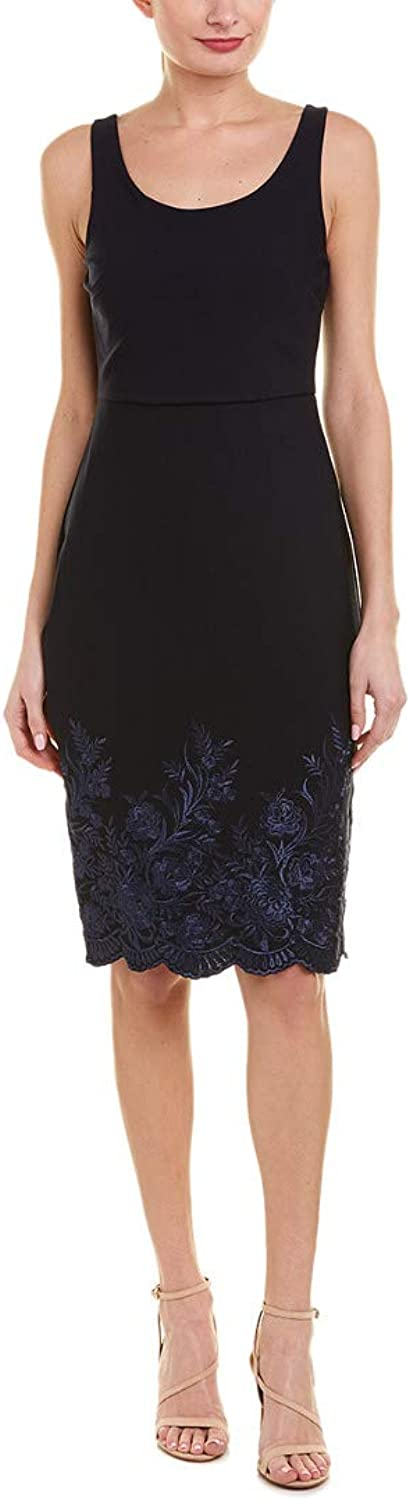 Betsey Johnson Womens Scuba Crepe Embroidered Midi Dress Casual Dress