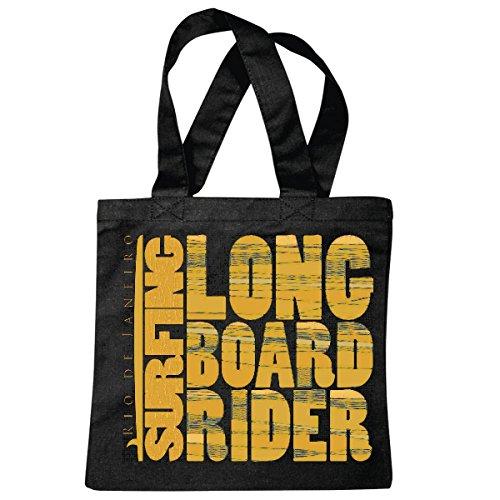 Tasche Umhängetasche Longboard Rider SURFEN Beach Surfbrett Longboard Wellenreiten Wellen ANFÄNGER Shop Einkaufstasche Schulbeutel Turnbeutel in Schwarz