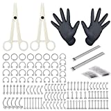 Jconly Piercing Kit - 84Pcs Professional Body Piercing Kit Piercing Needles 14G,16G,18G Piercing Clamps Belly Ring Tongue Tragus Nipple Nose, Body Piercing Tools … …