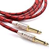 Siqi Cable de Instrumento de 1/4 Pulgadas (Paquete de 2), Cable de interconexión de Audio estéreo con Conector Macho Recto de 6,35 mm, Compatible con línea balanceada de 6,35 para Guitarra eléctrica,