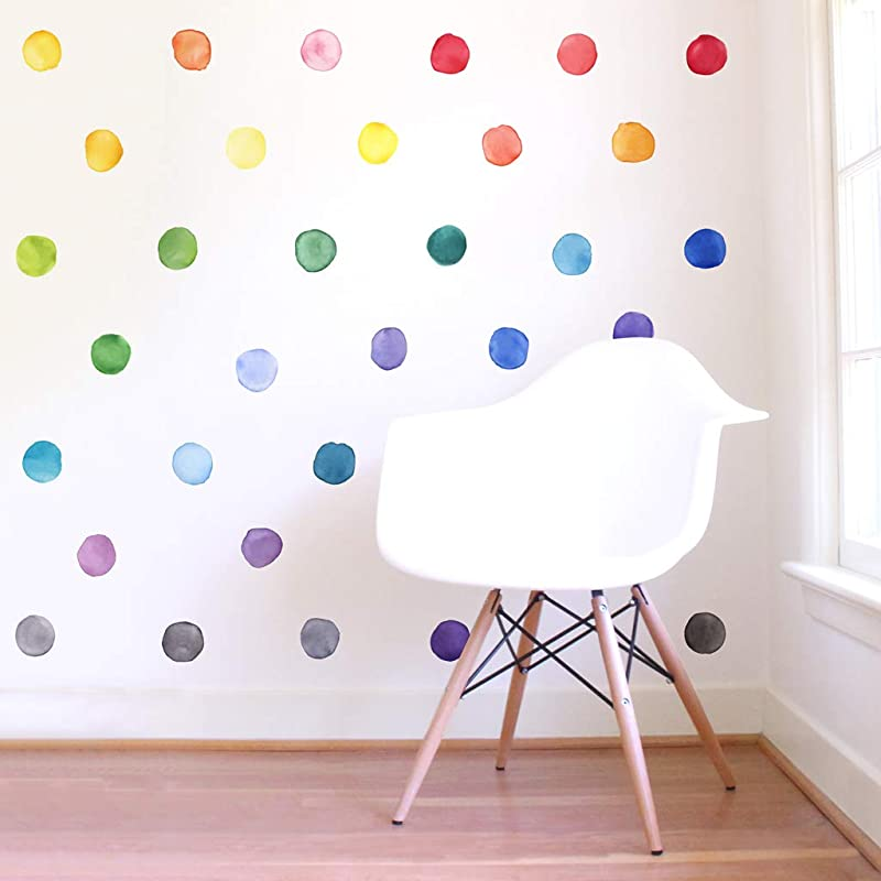 Mej Mej Re Positionable Fabric Wall Decals Color Story Collection Small Rainbow Dots