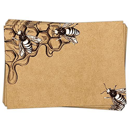 Logbuch-Verlag 25 Etiketten für Honiggläser in Kraftpapieroptik 7,4 x 5,2 cm - Aufkleber zum Beschriften für Honig - Honigaufkleber Bienenaufkleber