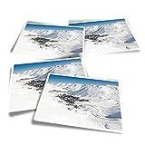 Tignes Ski Resort France Snowboard Fun Stickers - Pegatinas rectangulares de vinilo (4 unidades) para portátiles, tabletas, equipaje, reserva de chatarra, frigoríficos #46359