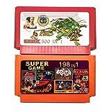 Jhana Colección de juegos de 2 piezas (500 en 1 + 198 en 1) Cartucho de juego de 60 pines para consola de juegos de 8 bits con Nija Contra DK, etc.